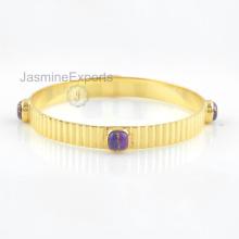 925 Prata Bangles, 18k Gold Copper Purple Turquoise Gemstone Bangle Jóias para Mulheres