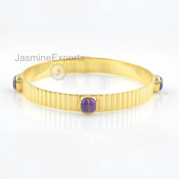 925 Silber Armbänder, 18k Gold Kupfer Lila Türkis Edelstein Armreif Schmuck für Frauen