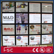 Publicidad LED luz caja/restaurante magnético tablero del menú