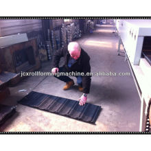 Color stone coated steel roofing making machine, stone coated metal roof tile machine for sale