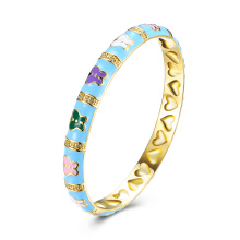 Flower Oil Drip Gold Bangle for Young Girls Fashion Girls Bracelet