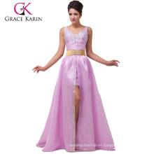 Grace Karin falda extraíble sin mangas brillantes vestido de fiesta con cuentas CL6038