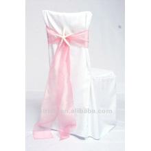 couverture de chaise de visa polyester belle avec ceinture d'organza pour mariage et banquet