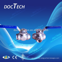 Válvula de bola 3 vías con alto montaje hecho en China