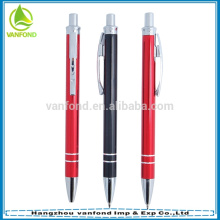 Top quality aluminium barrel red and black metal pen with 2 rings