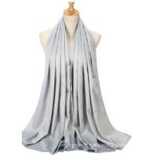 OEM Matte Satin Plain Color Custom Made Muslim Women Scarf Hijab