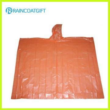 Poliéster con capucha transparente disponible Poncho de lluvia desechable Rpe-032