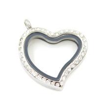 Moda prata banhado em forma de coração cristal de vidro Locket