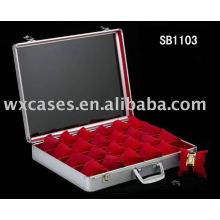 Caixa de relógio de alumínio profissional, caixa de relógio de vendas por atacado para 24 relógios com fabricante de opções de cores diferentes