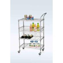 NSF Chrome-Plated Metal Wire Restaurant Alimentation Transports Trolley Cart