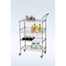 NSF Chrome-Plated Metal Wire Restaurante Alimentação Transporte Trolley Cart