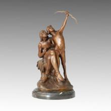Desnudo hombres de escultura de bronce Tallando decoración de latón estatua TPE-095