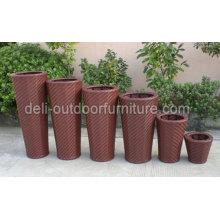 Jardín al aire libre Pe Rattan redondo cesta diseño Flower Pot