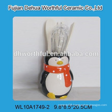 2016 ceramic utensil holder with penguin design for kitchen
