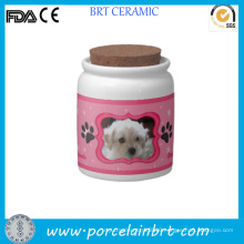 Custom Cute Ceramic Pet Food Jar Waterproof