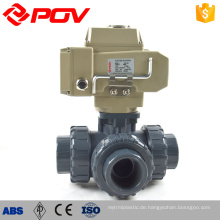 hohe Qualität hergestellt in China Union Typ 3-Wege-motorisierten Kugelhahn Upvc Kunststoff