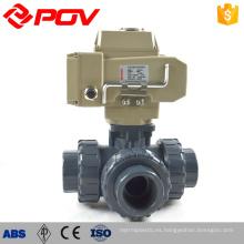 alta calidad hecha en China unión tipo 3 vías válvula de bola motorizada upvc plástico