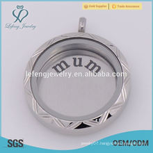 Fashion stainless steel silver round letter plate for floating locket,no locket