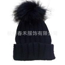 Chapeau en laine / Chapeau en laine en tricot à la mode avec fourrure POM Poms / Bonnet tricoté avec fourrure POM POM