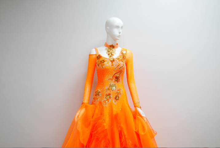 Orange Ballroom Dance Costumes For Girls