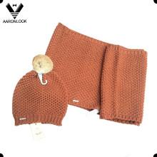 Девушки зимние толстые трикотажные шейный шарф Beanie 2PCS Set
