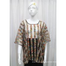 Lady Fashion Paisley imprimé polyester tricoté creuse T-shirt (YKY2206)