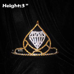Coronas de cristal dorado de 3 pulgadas con diamante transparente en el medio