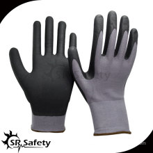 SRSAFETY 15G knitted nylon & spandex glove,coated black foam nitrile gloves