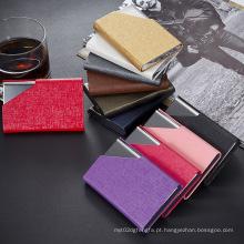 Qualidade Superior Metal Preto PU Leather Business Card Holder