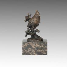 Estatua de Bird Bird de animales y escultura de bronce de rama, Milo Tpal-282 (B)
