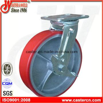 8 pulgadas de poliuretano giratorio con rueda de freno