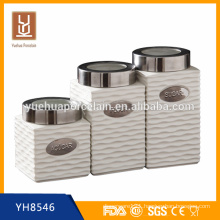 new design square ceramic canister tea coffee sugar set