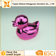 Plating Ceramic Rubber Duck Shape Money Bank