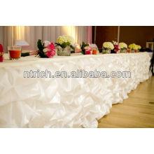 Luxury satin ruffled table skirting style,table skirting for wedding