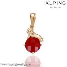 32875 Xuping luxo top grau pingente de ouro pavimentar único rubi mais recentes projetos de jóias de ouro