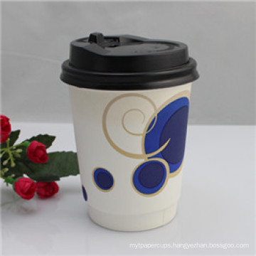 Customized Cheap Logo Printed Disposable Paper Cup with Lid