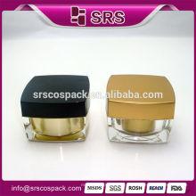 Elegant Gold Plastic Square Shape 5g 10g 15g 30g 50g 100g Crème pour le visage et gel acrylique pour les yeux Cosmetic Travel Containers