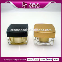 Elegant Gold Plastic Square Shape 5g 10g 15g 30g 50g 100g Face Cream Jar And Acrylic Eye Gel Cosmetic Travel Containers
