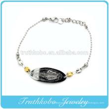 Brillante pulido cortado con láser de alta calidad cristianismo joyas de acero inoxidable Mary colgante religiosa 2 tonos pulsera