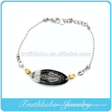 Shiny polishing laser cut high quality christianity jewelry stainless steel Mary pendant religious 2 tone bracelet