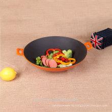 Haushalt Wok Gusseisen Chinesisch Wok Pan mit zwei Schleife