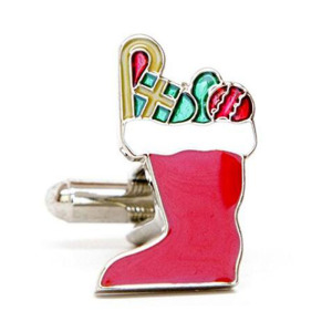Santa Christmas Stockings Cufflinks With Gift Box