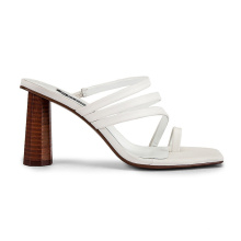 Women Leather Sandal Shoes China Factory Wholesale 2020 Stylish Cylindrical Heel Simple Strappy Flip Flop Square Toe Customized