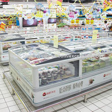 Island Freezer for Supermarket and Hypermarket Frozen Food Display, Remote Type