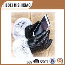 Ladies Fashion Sheepskin Leather Winter Gloves/Lady Touch Screen Gloves
