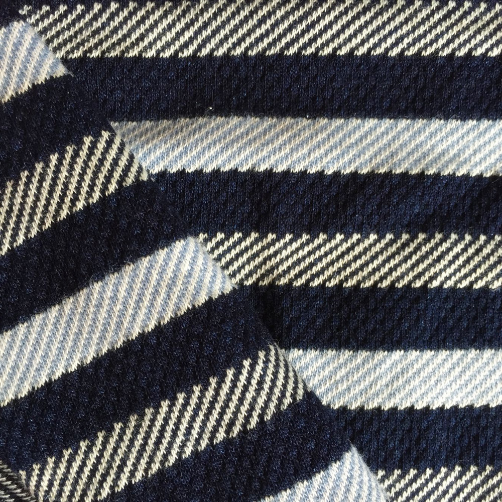Indigo cotton knitting Jacquard fabric