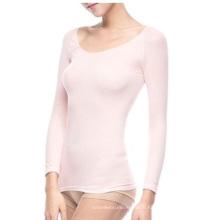 Womens transparente manches longues encolure dégagée T Shirts