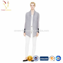 Ladies shawl collar cashmere knit cardigan without buttons