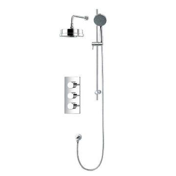 Mitigeur de douche à bain thermostatique encastré mural à 3 voies