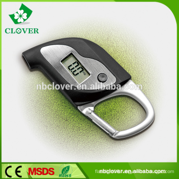 Multi-function with carabiner and compass digital tire pressure gauge for car